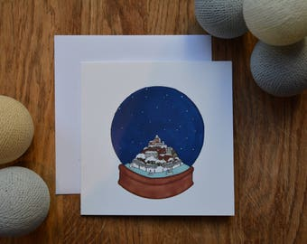 Rye snow globe Christmas card