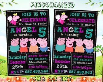 Peppa Pig Invitation, Peppa Invitation, Peppa Pig Birthday Party, Peppa Birthday Invitation, Peppa pig party, Personalized, Digital File