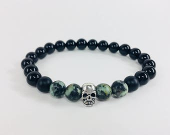 Onyx and African Turquoise with sterling silver skull
