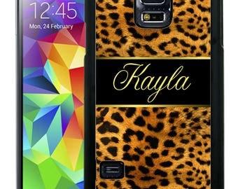 Personalized Rubber Case For Samsung S5, S6, S6 edge, S6 Edge Plus, S7, S7 Edge,  8, 8 plus - Leopard Gold