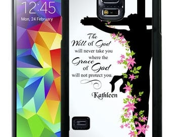 Personalize Rubber Case For Samsung Note 3, Note 4, Note 5, or Note 8- Grace of God Religious Cross
