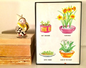 Mini Plant Illustrations Vintage Wall Art / Sweet Girly Botanical Print