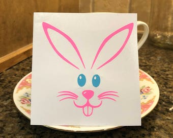 Easter Bunny Vinyl Decal, Bunny Face, Sticker, Pink, Purple