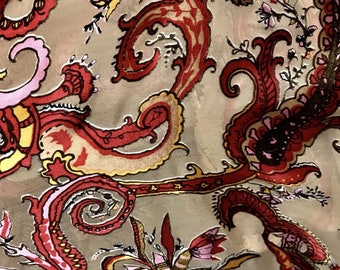 Burnout 100% Silk Charmeuse Chiffon Fabric - Paisley - Sold By The Yard