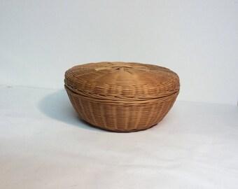 Vintage Wicker Basket with Lid