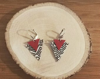 Unique Stud Earrings in red leather and fabric
