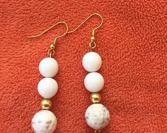 White gold marble beaded earrings