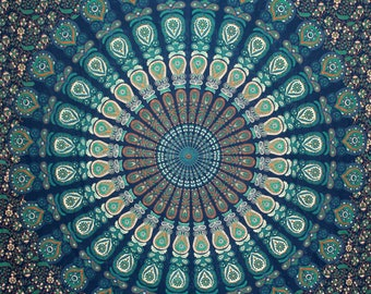 Boho Queen Size Mandala Tapestry - Teal Peacock