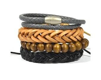 4 Pack Gray Twist Bracelet Set