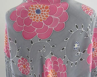 Hand painted silk shawl.