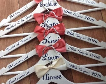 Personalised Wedding Coat Hanger Decals / Stickers -  name, role and date included , Bride, Bridesmaid, Maid of Honor and more
