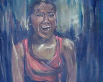 Original handmade - Oil on Canvas -  Portrait of the Artist. Mineh