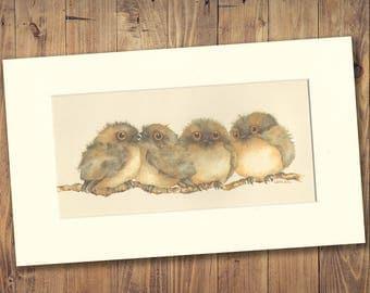 Tawny Frogmouth Medium Watercolour Print, birds, Australian, wildlife, home decor, wall art, fine art, bird, nocturnal