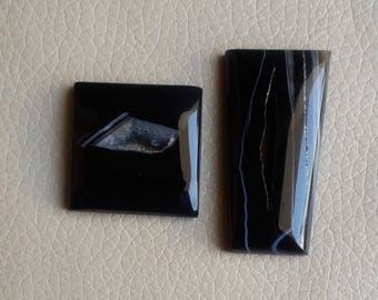 Beautiful 2 Piece Natural Black Onyx Druzy, Jewelry Pendant Druzy, Designer Onyx Druzy Weight 147 Carat and Size 50x25x8, 33x33x8 MM Approx.