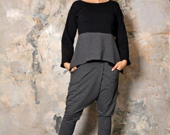 NEW Collection Grey Crotch Harem Pants with Cotton Tunic/Extravagant   Pants/Side pockets/ Top Exstravagante 0073