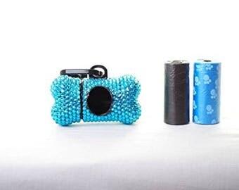 Blue Crystal Rhinestone Bone shaped Waste Bag Dispenser