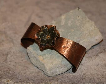 Copper Cuff With Flower