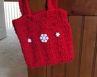 Crocheted Purse//Red//Gift for Little Girl//Christmas Idea