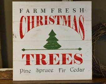 Farm Fresh Christmas Tree Sign, Christmas decor, Christmas sign, White sign, holiday decor, handmade, wood pallet sign, Christmas tree sign