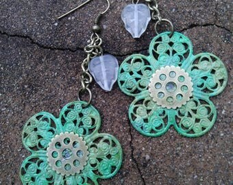 Patina flower earrings