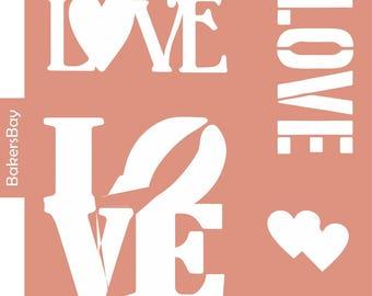 Love Cake Stencil, Cookie Stencil, Designer Stencil, Decoupage stencil, Tortenschablone
