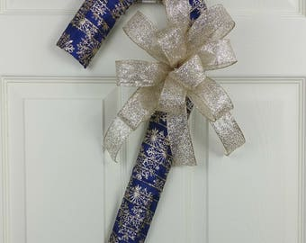 Holiday Decorations. Christmas Decoration, Candy Cane decor, Blue and Gold decor, Holiday door decor, Holiday decorations, Blue and Gold