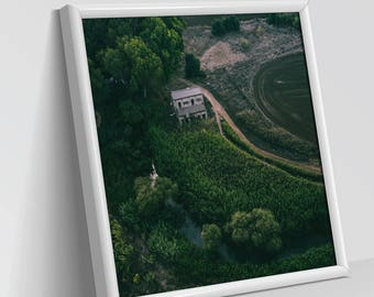 LEFT ALONE - BUILDINGS | Aerial Photography, Digital Print, Wall Art Decor, Art Prints, Structures, Green and muddy