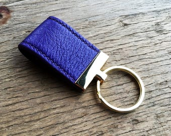 Ultraviolet leather key fob for her, perfect gift, Purple + Gold
