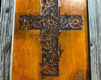 Carved cross portrait