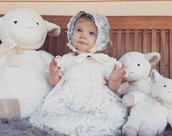 White Lace Christening Gown with Matching Bonnet ______ Baby Girl Baptism, Toddler Gown, White Dress, Lace Baby Dress, White Lace Dress,