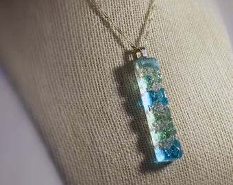 Unique fused glass with delicate silver chain pendant