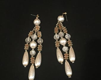 Vintage 1980 Beaded Chandelier Earrings
