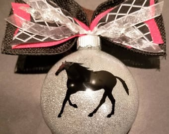 Christmas Ornament - Horse with Silver ball and coordinating bow