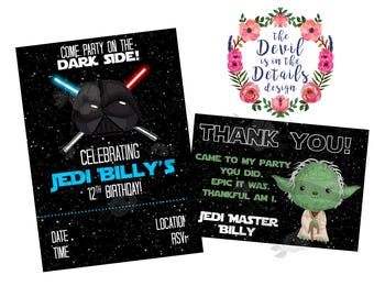 Star Wars Style Birthday Invitation and Thank You Card DIY Digital Design