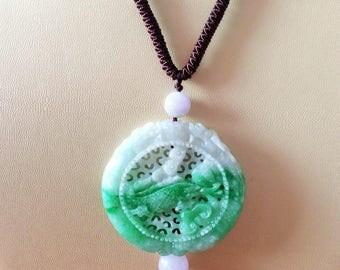 Jadeite Fish, Bat, Flower & Dragon Necklace