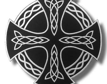 Celtic cross - embroidered patch, 28x28 cm
