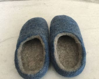 Hand felted 10% wool slipper