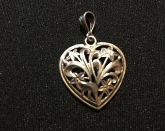 Sterling silver heart and flower pendant