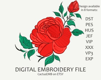 INSTANT DOWNLOAD - Rose Flower machine embroidery design. Red Rose. Boho Style. Embroidery design