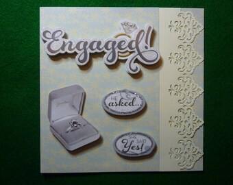 Engagement Card with Decoupage Engagement Ring,