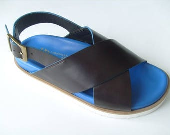 Genuine leather women's handmade sandals