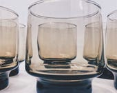 Libbey Mid-Century Tawny Smoke Brown Glasses- Set of 6 Lowball Barware or Glassware   Stackable