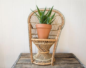 Vintage Mini Peacock Chair // Rattan Plant Stand // Wicker Plant Stand // Bohemian Home Decor