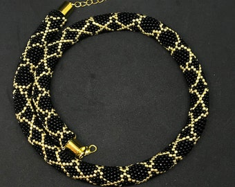 Black and gold beaded necklace choker office necklace