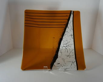 Fused Glass Square Platter - Amber