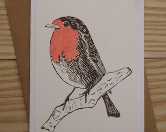 Robin Linoprint Card