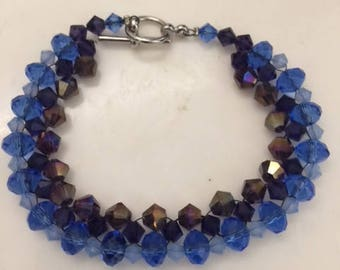 Purple and Blue Bicone Bracelet