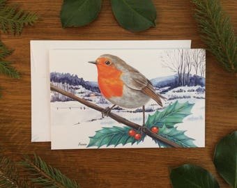Illustrated European Robin Christmas greeting card