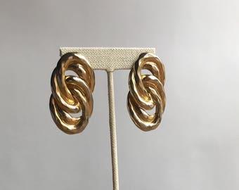 80's Gold Tone Double Hoop Earrings