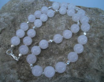 "Rose Quartz Necklace ""Sophia"" 10 mm, 42 cm #625"